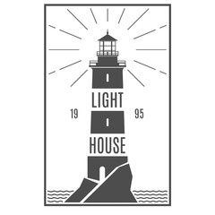 Lighthouse retro black logo. Naval Architecture sign. Lighthouse stylish badge. Sticker, line design. Hipster style. Marine symbol. Vector illustration.