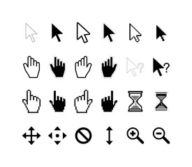 Large set of computer arrow cursors on white
