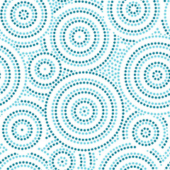 Blue and white australian aboriginal geometric art concentric circles seamless pattern, vector