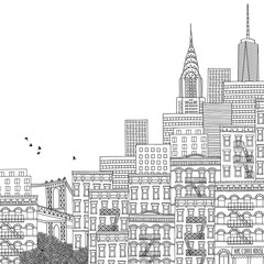 Hand drawn illustration of New York