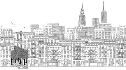 Hand drawn seamless banner of New York City