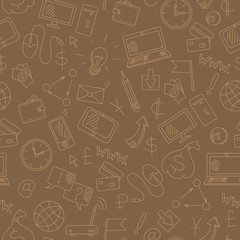 Seamless background on the topic of information technology and earn money online, simple hand-drawn contour icons, light outline on a brown background