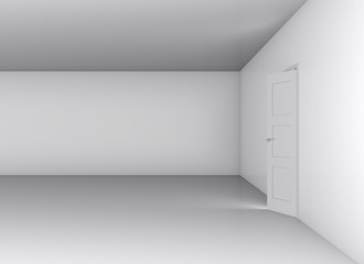 Open white door and blank wall