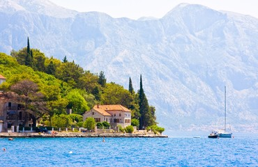 Landscape with mediterranean town - Perast, Kotor bay (Boka Kotorska), Montenegro
