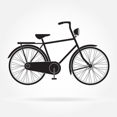 Bicycle icon isolated on white background. Retro styled or vintage image of bicycle. Vector illustration.
