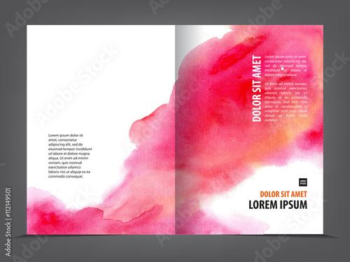vector empty bifold brochure template print blank watercolor design