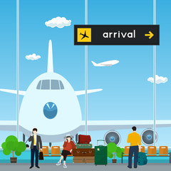 Airport , a Waiting Room with People, View on Airplane through the Window from a Waiting Room , Scoreboard Arrivals at Airport, Travel Concept, Flat Design, Vector Illustration