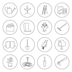Set of Garden Tools, Round Thin Line Icons Gardening Equipment , Agricultural Tool , Black and White Vector Illustration