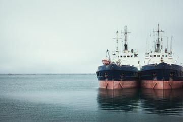 two ship in sea port