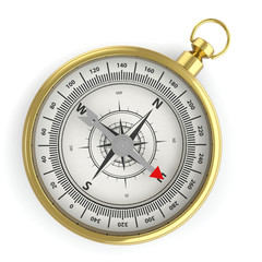 Compass isolated on white background with shadow