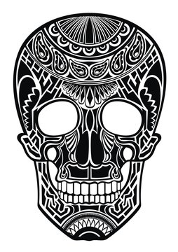 Decorative black skull on white