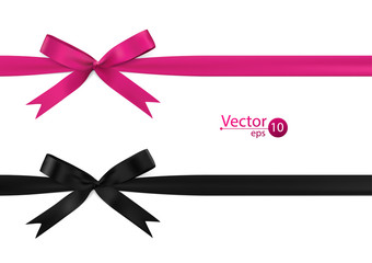 Ribbon bows - pink, black, collection. isolated on white.