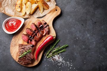 Wall Mural - Grilled sliced beef steak