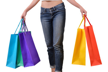 Hand holding shopping bag on white background with clipping path