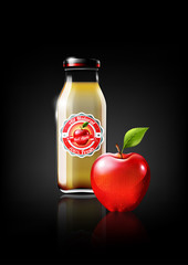 Red Apple juice in a glass bottle for design advertisement and vintage logo, fruit, transparent, Vector