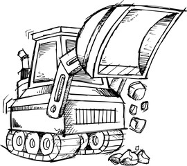 Sketch Construction Bulldozer Vector Illustration