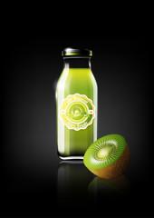 Green Kiwi juice in a glass bottle for design advertisement and vintage logo, fruit, transparent, Vector
