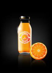 Orange juice in a glass bottle for design advertisement and vintage logo, fruit, transparent, Vector