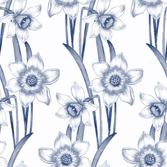 Flower seamless pattern with daffodils.