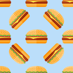 Seamless pattern with hamburger on blue background. Vector illustration.