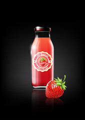 Strawberry juice in a glass bottle for design advertisement and vintage logo, fruit, transparent, Vector