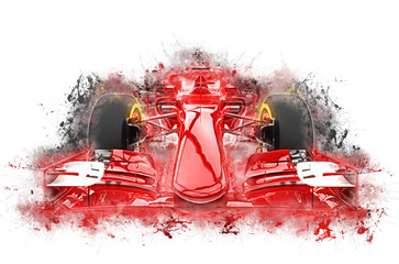 Red formula one car - grungy color splashes illustration