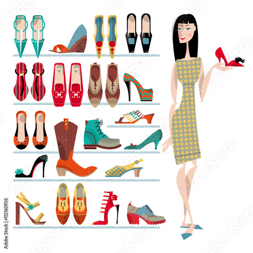 """""""Woman with collection of shoes on white background ..."""