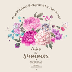 Vintage floral vector bouquet of peonies and garden flowers