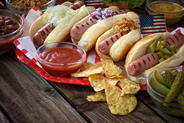 American 4th of July Hot Dogs Picnic Table