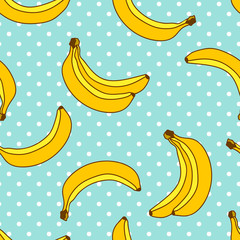 Banana seamless pattern with polka dots