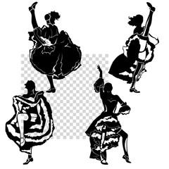 Wall Murals Music Band cancan dancers silhouettes set