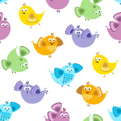 Seamless pattern with cute colorful birds. Vector cartoon illustration