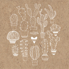 Vector cactus set. Elements isolated on kraft paper background.