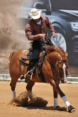 The front view of rider on horseback galloping ahead