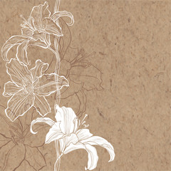 Floral background with lily on kraft paper. Can be greeting card or invitation.