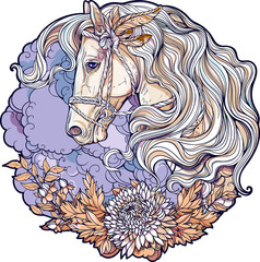 Colorful portrait of a horse with clouds and flowers