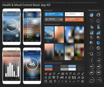 Flat design responsive UI mobile app and website template