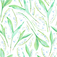 Floral seamless pattern with lily of the valley flowers.Watercolor hand drawn illustration.