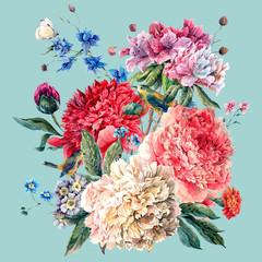 Vintage Floral Greeting Card with Blooming Peonies
