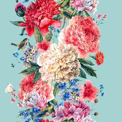 Vintage floral seamless watercolor peonies border