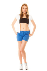 Girl in sportwear, fitness woman isolated