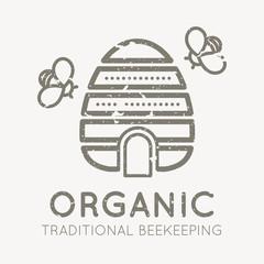 Beekeeping emblem with beehive