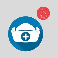 Medical care concept. Nurse icon. White background , vector