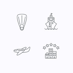 Cruise, flippers and airplane icons.