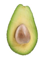 Half of fresh avocado with stone isolated on white
