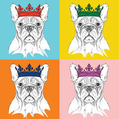 Image Portrait of dog with the crown. Pop art style vector illustration.