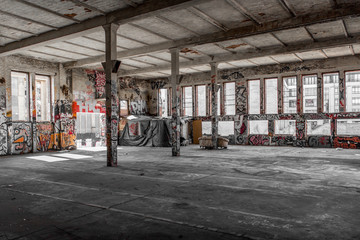 Spoed Foto op Canvas Oude verlaten gebouwen abandoned warehouse interior , old building interior