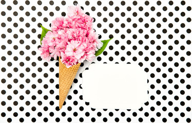 Cherry tree flowers ice cream waffle cone paper tag