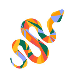 snake and abstract shapes illustration design