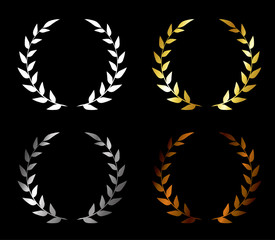 Vector. Set of wreaths. Golden award, silver award, bronze award, blank award. Wreath for a winner.